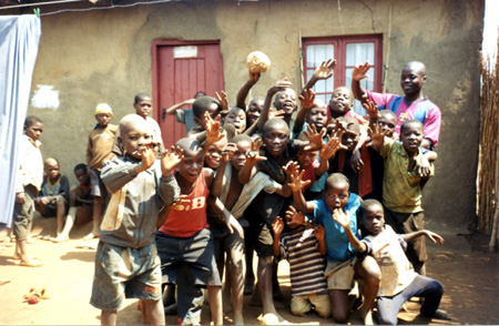 "2009-03 - The ""Future of Malawi"" kids club after a football match in Piyasani village."