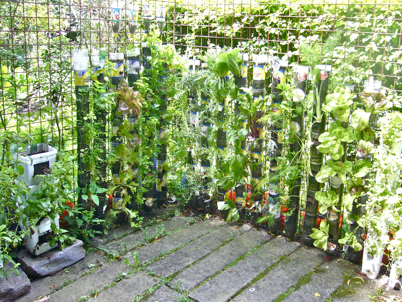 Huerta vertical de botellas de plastico willem van for Vertical garden containers