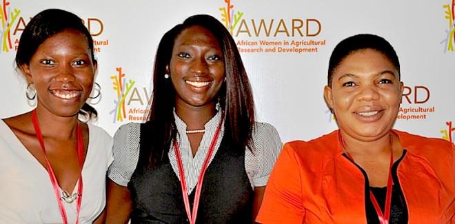 2015 AWARD Fellowship Laureates from left: Juliana Mandha (Tanzania), Ifeoluwa Olotu (Nigeria) and Ngozi Edoh (Nigeria), attending the Mentoring Orientation  - http://awakeafrica.org/wp-content/uploads/2015/02/2015-award-fellowship-laureates.jpg