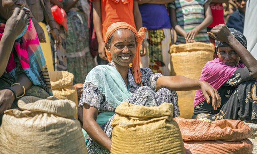 JIMMA, ETHIOPIA - MAY 2, 2015 : Ethiopian woman selling crops in a local crowded market. - http://foodtank.com/assets/images/head/Ethiopian_woman_selling_crops_in_a_local_crowded_market.jpg