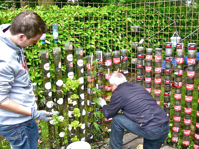 Bottle towers for alleviating malnutrition